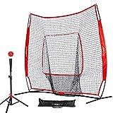 Pinty Baseball and Softball Practice Net 7'×7' Portable Hitting Batting Training Net with...