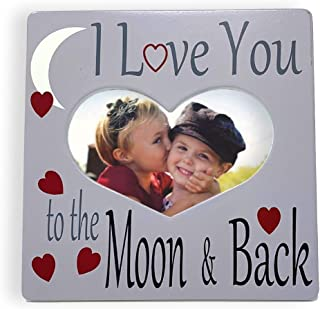 BANBERRY DESIGNS I Love You Picture Frame - Heart Shaped Frame with I Love You to The Moon and Back Saying - Gray and White Photo Frame - Desktop Plaque