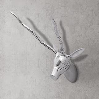 Festnight Wall Sculpture Animal Head Wall Mounted Decoration Aluminum Silver Wall Hanging Home Living Room Office Decor Craft Gift (Gazelle-13)