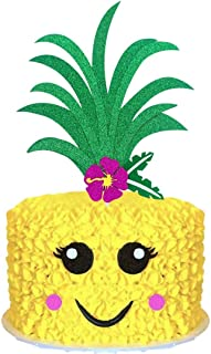 Palksky Glitter Big Pineapple Cake Topper Set With Eyes, Dimple, Mouth/Tropical Hawaiian Aloha Luau Themed Party Cake Decoration Supplies for Birthday Wedding Baby Shower(6.8x5.8inch)