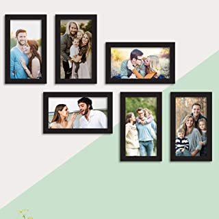 Prague Set of 6 Black Wall Photo Frame, Picture Frame for Home Decor with Free Hanging Accessories (Size - 6x10 Inchs)