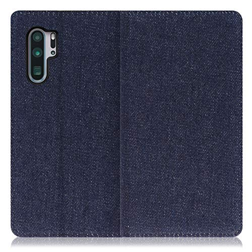 LOOF Denim HUAWEI P30 Pro ケース 手帳型 カバー スマホケース デニム生地 横入れ カード収納付 スタンド機能付 パス入れ 手帳型ケース 手帳型カバー ベルトなし おしゃれ シンプル ブランド (ブルー)