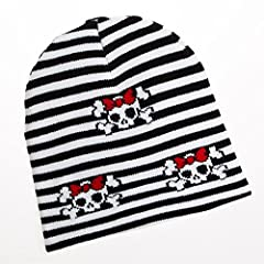 One beanie One size fits most Beanie is approximately 8″ from top to bottom Horizontal black and white striped hat Red bows on skull and crossbones