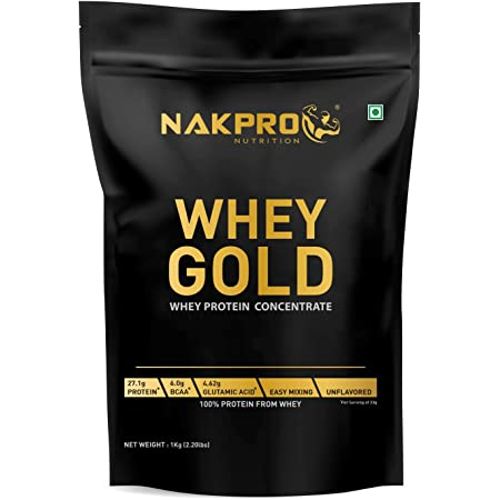 NAKPRO GOLD 100% Whey Protein Concentrate 1 kg Unflavour, 27.1g Protein, 6g BCAA & 4.6g Glutamine, Whey Protein Concentrate Supplement Powder