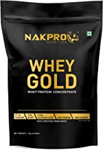 NAKPRO GOLD 100% Whey Protein Concentrate 1 kg Unflavour, 27.1g Protein, 6g BCAA & 4.6g Glutamine, Whey Protein Concentrat...