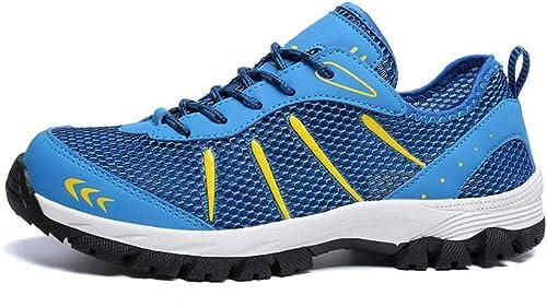 GHFJDO Hommes Marchant Running Gym Chaussures, Ultra léger Casual Lace Up Baskets Chaussures de randonnée en Plein air,bleu,40EU