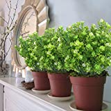 MIHOUNION 4 Bündel Künstliche Pflanzen Gefälschte Künstliche Sträucher Blumenstrauß Evergreen Sträucher für den Tisch Hochzeit Jeder zimmer Blumengestecke Deko - 6