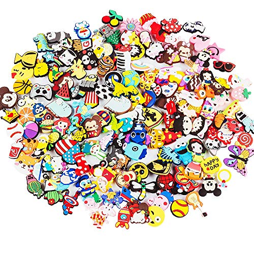 100 PCS Different Shaped PVC Shoe Charms for Shoe Decoration+3 PCS Shoelace Adapter,Charms for Halloween, Easter, Christmas, Birthday,Party Gifts