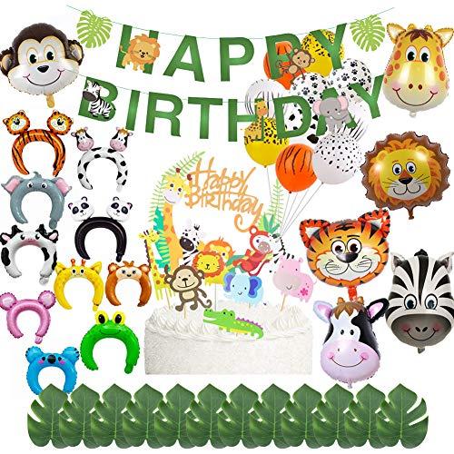 61 piezas de decoración de cumpleaños de animales de la selva, globos de tigre,adornos de tortas de animales, suministros de fiesta temática de la jungla para fiestas de banquetes de fin de cumpleaños
