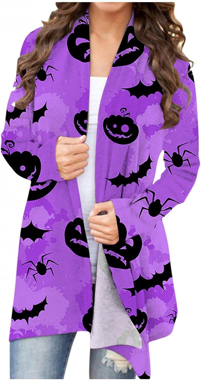 Sweaters for Women,Long Sleeve Open Front Cardigan Sweaters Halloween Pumpkin Ghost Printed Lightweight Coat