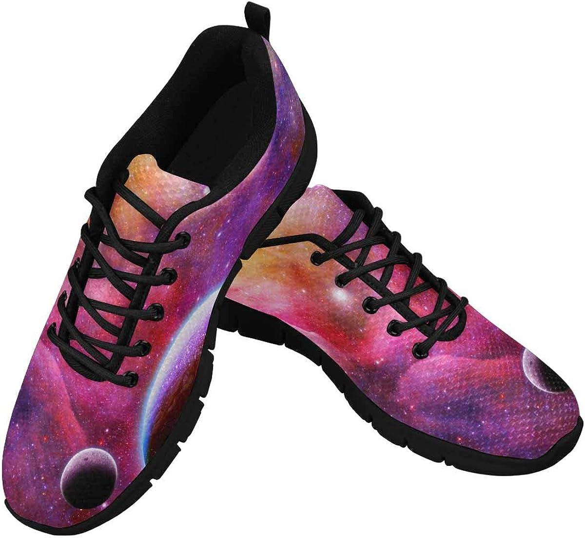 INTERESTPRINT Galaxy and Nebula Pattern Women's Athletic Walking Shoes Breathe Comfort Mesh