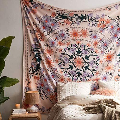 SROOD Rose Bohemian Tapisserie Wandbehang, Mandala Blumenmedaillon Hippie Tapisserie mit weißem ästhetischen Kranz Design, Navy Wanddekor Decke für Schlafzimmer Wohnheim, 150CM × 150CM