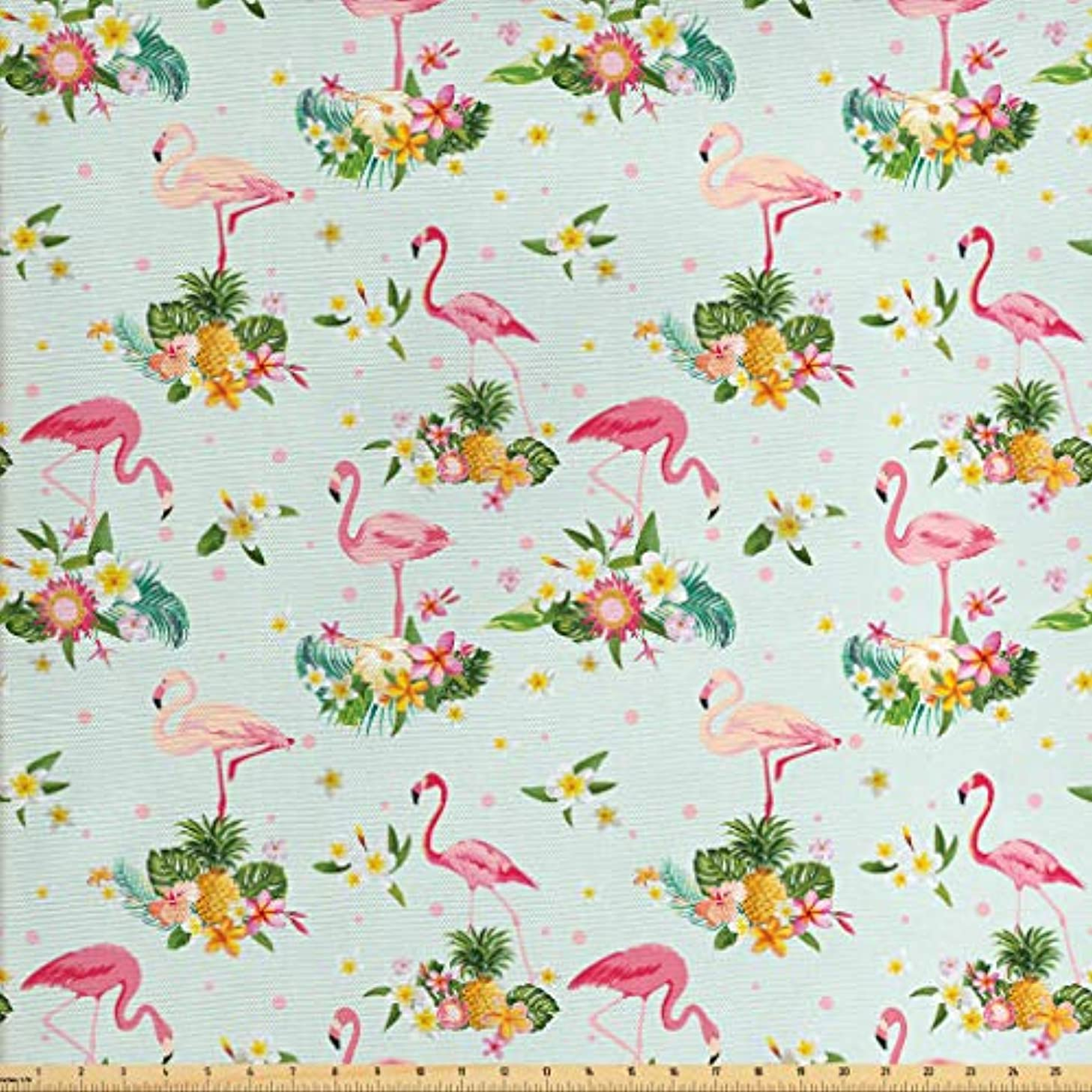 Lunarable Flamingo Fabric by The Yard, Flamingo Bird Tropical Flowers Fruits Pineapples Vintage Style Artwork, Decorative Fabric for Upholstery and Home Accents, 2 Yards, Yellow Green Pale Pink