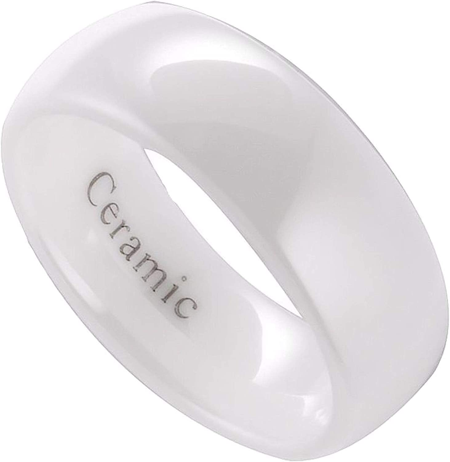 MJ Metals Jewelry White Ceramic Wedding Ring Classic High Polished Band 3, 4, 6, 8, 10mm