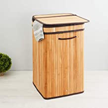 Home Centre Hudson Bamboo Laundry Hamper 35x35x60 cms