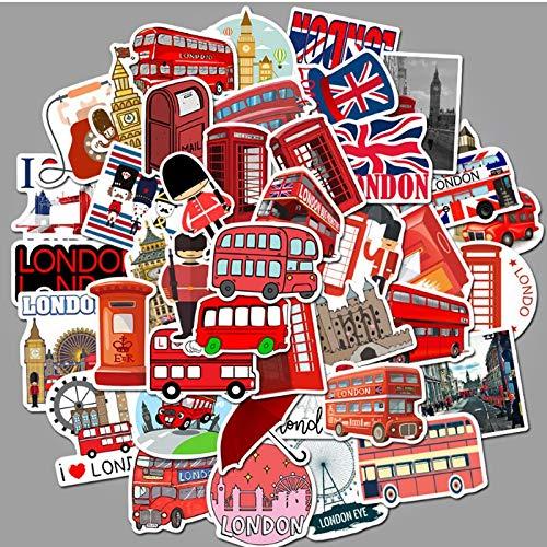 ZXXC 50 Uds London Red Bus Cabina de teléfono Graffiti monopatín Impermeable Maleta de Viaje teléfono portátil Equipaje Pegatinas niños Lindos niña