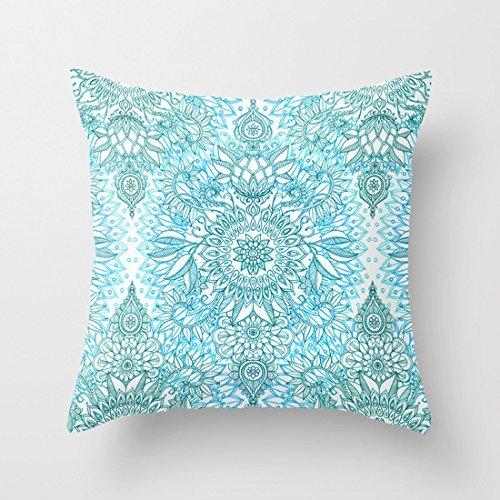 Taie d'oreiller Motif design Bleu turquoise/sarcelle et blanc 46 x 46 cm