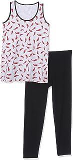 Fabulous Printed Scoop-Neck Tank Top with Elastic Waist Solid Leggings Pajama Set for Women - Grey and Black, L