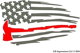 UR Impressions Gry Thin Red Line Fireman's Axe - Tattered American Flag Decal Vinyl Sticker Graphics Car Truck SUV Van Wall Window Laptop|Gray & RED|7.5 X 4.3 Inch|URI661