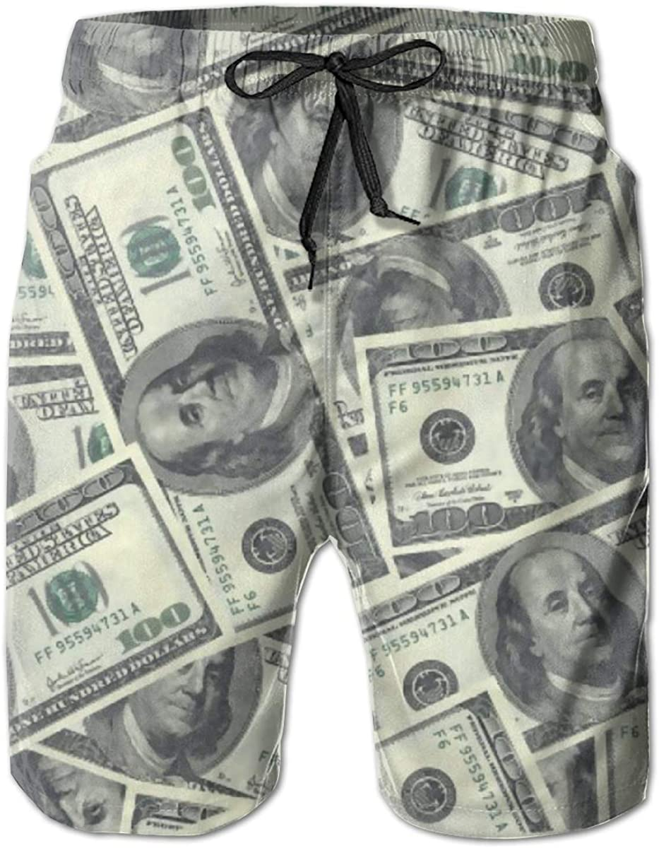 QINSDLF 100 Dollar Bills Men's Beach Swim Trunks, Men Summer Board Shorts,Beach Holiday Party Bathing Suits with Mesh Lining