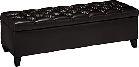 "Christopher Knight Home Charleston Brown Leather Tufted Storage Ottoman, 17.50""D x 51.25""W x 17.43""H"