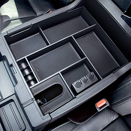 JDMCAR Center Console Organizer Compatible with 2014-2019 2020 2021 Toyota Tundra Accessories, Insert ABS Black Materials Tray, Armrest Secondary Storage Box - Full Tray