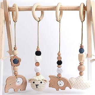 EXQULEG 4 st leksaksbåge i trä för spädbarn, bebisgymnastikleksak, bitring för bebisar, hängande lektrapets, babygymnastik...