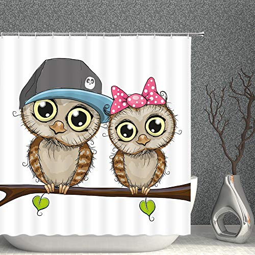 Cartoon Shower Curtain of Owls and Tree Branch Romance