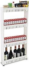 Todeco - Estante con Ruedas, Estantería de Almacenamiento con Ruedas - Material: Plástico - Peso: 2,44 kg - 4 compartimientos, 112 x 54 x 12 cm, Blanco