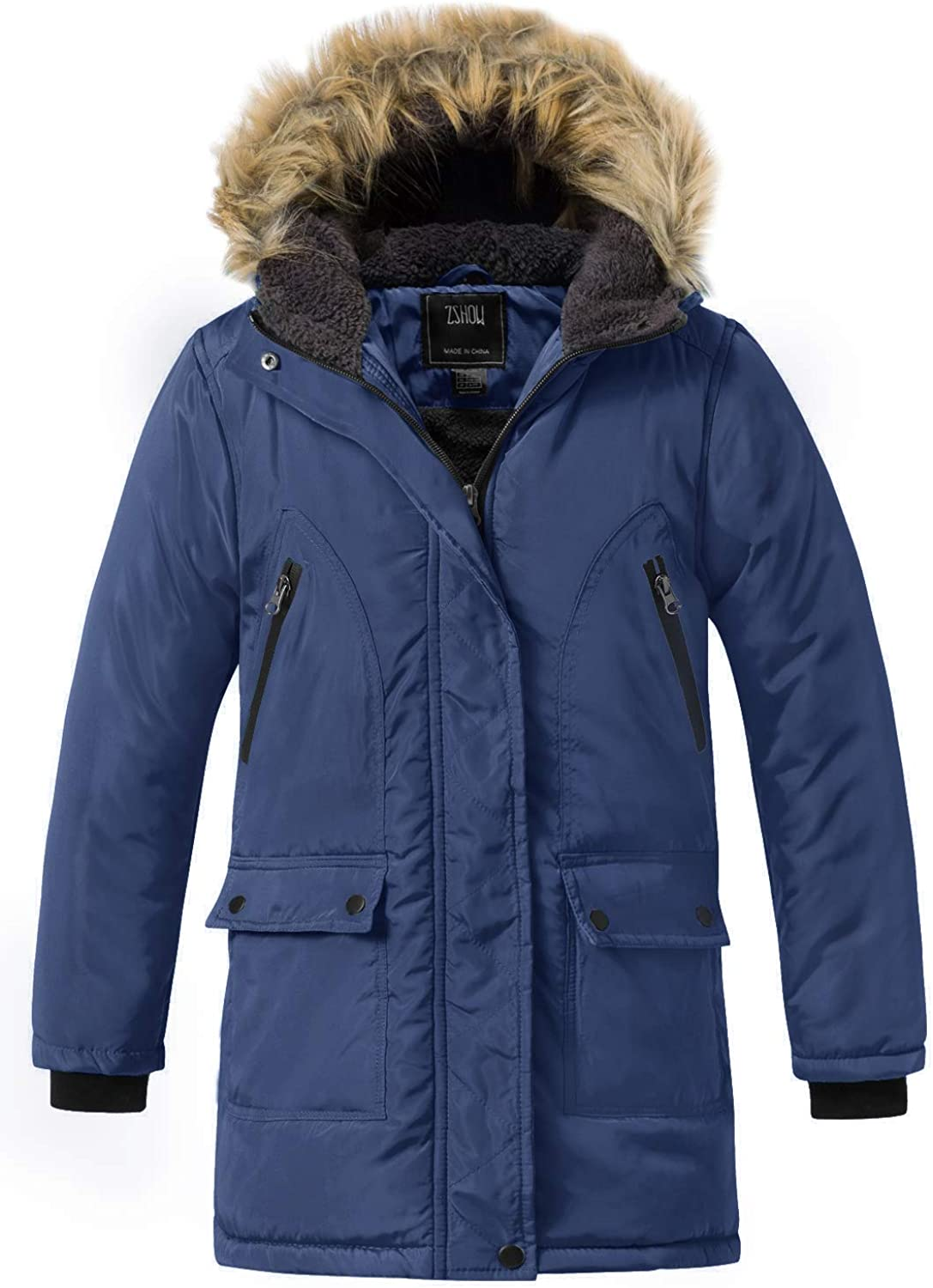 ZSHOW Girls' Winter Directly managed store Parka Coat Easy-to-use Warm Ja Padded Long Hooded Puffer