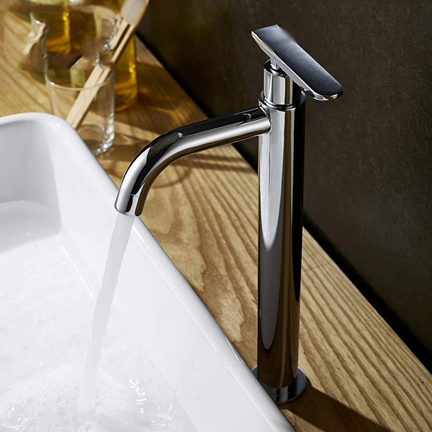 WFL Copper Heightening Single Cold Basin Faucet Washing Face Faucet,1,1