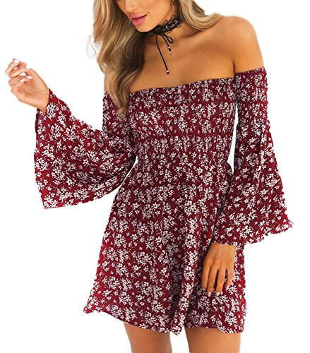 NANFANGLI Women Summer Dress Print Mini Casual Off-Shoulder Dresses (M, Red)