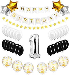 Best Happy to 1st Birthday Balloons Set - High Quality Birthday Theme Decorations for 1 One Year Old Party Supplies Silver Black Gold