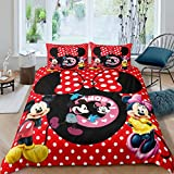 Trduast Mickey Bedding Set Queen Size 3 Pieces Red Minnie Mouse Duvet Cover Set for Kids Boys Girls Comforter Cover, 1 Duvet Cover + 2 Pillowcase