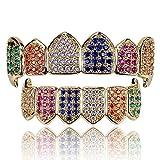 LC8 Jewelry Hip Hop Unisex Hombres 18K Chapado en Oro Arco Iris Iced out CZ Simulado Diamante Parte Superior Inferior Dientes Grill Set Mujer