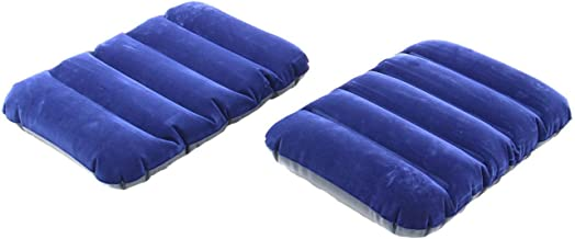 CLOMANA® Blue Velvet Air Inflatable Neck Pillow for Travel for Sleeping(Set of 2) Tourist Pillow for Sleeping