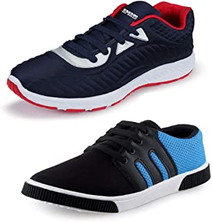 Bersache Men Canvas Multicolor Combo Pack of 2 Running Sports Shoes for Men