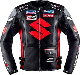Suzuki Black Motorcycle Racing Leather Jacket (L(EU52-54))