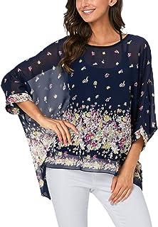 Ckikiou Plus Size Summer Tunics Blouses for Women Batwing Loose Chiffon Shirts Tops