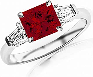 1.1 Carat t.w 14K White Gold Prong Set Round And Baguette Diamond Engagement Ring w/a 0.75 Carat Princess Cut Red Ruby Heirloom Quality