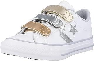 Converse Star Player 3V Ox Metallic Leather Blanco/Dorado (White/Metallic) Cuero Adolescentes Entrenadores Zapatos