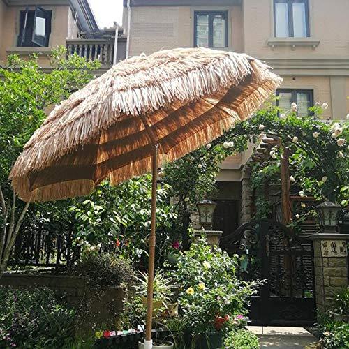 Parasol Sombrilla De Jardín De 2 M Sombrilla De Paja, Sombrilla De Hawaii Se Puede Inclinar, Adecuado para Paraguas Mesa del Patio Playa, Color Natural Sin La Base
