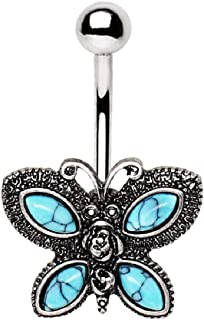 Antique Turquoise Butterfly Belly Button Ring in 316L Stainless Steel