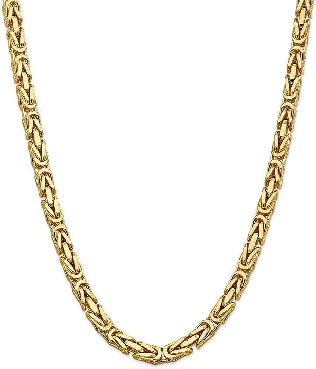 Collana in oro giallo massiccio a catena bizantina  14 kt, da 6,50 mm - diamond2deal BIZ180-20