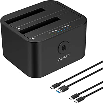 Alxum USB 3.0 Hard Disk Docking Station, Dual bay SATA a USB C Hard Disk Dock Caddy con Funzione di clonazione Offline per SSD HDD da 2,5 Pollici e 3,5 Pollici, Dotato di Due Cavi USB A e USB C