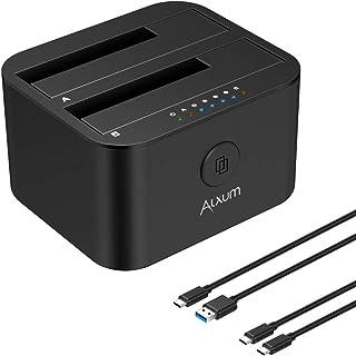 Alxum Estación de Acoplamiento de Disco Duro USB C y USB A, Caddy de Disco Duro SATA de Dos bahías con función de clonación sin conexión para 2.5 Pulgadas y 3.5 Pulgadas HDD SSD