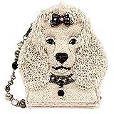 Mary Frances Fifi Hand Beaded Crystal Jeweled Poodle Dog, Shoulder Bag Handbag Evening Bag