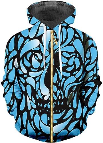 Ai Ya-weiyi Nouveau Pour des hommes Harajuku Bleu Impression 3D Fleur Crane Sweat à Capuche Zip Slim Fit Homme Manche Longue Veste à Capuche Fitness à Capuchon voituredigan