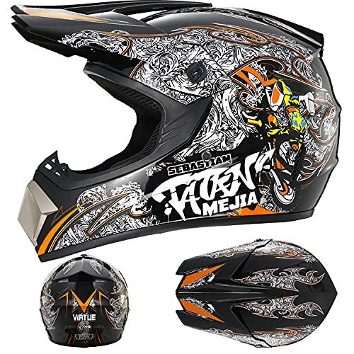 FSYG Casco de moto para adultos, casco de motocross, casco de motocicleta, moto, ATV, scooter, barcos y deportes acuáticos, B, XL