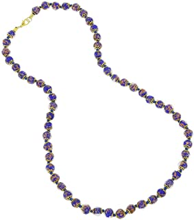 Murano Glass Sommerso Long Necklace - Navy Blue